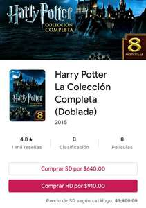 Google Play: Saga Harry Potter SD o HD