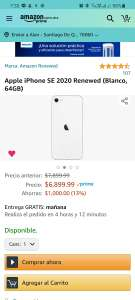 Amazon: iPhone SE Blanco 64GB Amazon Renewed