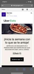 Uber Eats: Cupon 50% de descuento