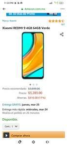 Amazon: Xiaomi REDMI 9 4GB 64GB Verde