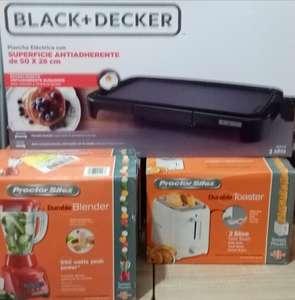 Bodega Aurrera Plaza Ecatepec: plancha electrica (black & decker)$139, tostador (proctor silex) $69, licuadora (proctor silex) $74.