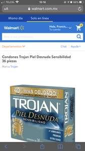 Walmart, Condones Trojan Piel Desnuda Sensibilidad 36 piezas en Walmart