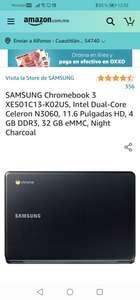 Amazon: SAMSUNG Chromebook 3 XE501C13-K02US, Intel Dual-Core Celeron N3060, 11.6 Pulgadas HD, 4 GB DDR3, 32 GB