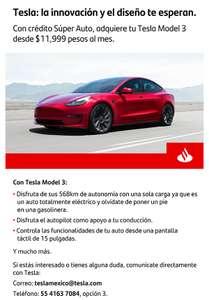 Santander: Tesla con Crédito Santander pagando desde 12,999 pesos mensuales
