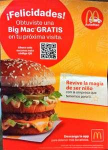 McDonald's: Big Mac Gratis en cualquier compra. (Actualización: compra mínima de $50 pesos)