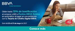 Promociones Hot Sale 2021: BBVA - 15% de bonificación al comprar a MSI o puntos dobles