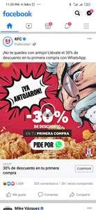 KFC: 30% de descuento comprando por whats app NUEVO CÓDIGO