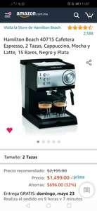 Amazon: Cafetera de Espresso Hamilton Beach