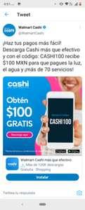 100 pesos de regalo a usuarios nuevos en Cashi