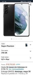Amazon: Samsung Galaxy S21+ Plus 5G, versión Snapdragon, pagando con Banorte, solo hoy