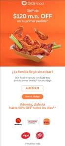 DiDi Food: descuento de 120 MXN en primer pedido