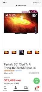 """Sears: Pantalla LG 55"""" Oled Tv Ai Thinq 4K Oled55Bxpua"""