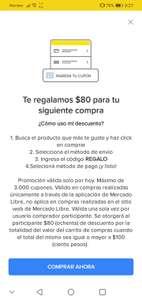 Cupon de 80 pesos de descuento en Mercado Libre usuarios seleccionados