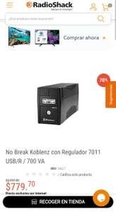 Radioshack: No Break Koblenz con Regulador 7011 USB/R / 700 VA