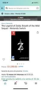 Amazon: Zelda Botw 2. Preventa