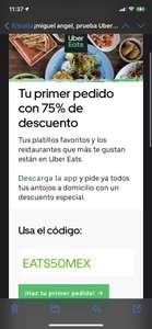 Uber Eats 75% OFF en tú primer pedido