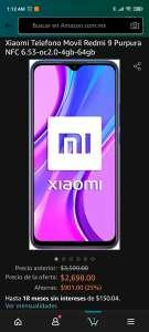 Amazon: Xiaomi redmi 9 64Gb y 4Gb Ram(sin NFC)