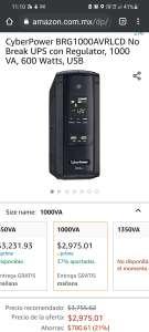 Amazon: CyberPower BRG1000AVRLCD No Break UPS con Regulator, 1000 VA, 600 Watts