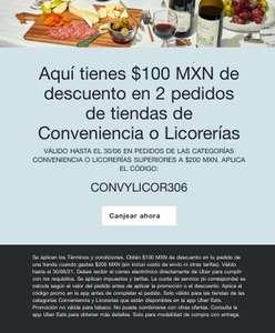 Uber eats: código descuento 100 MXN tiendas Conveniencia o Licorerias