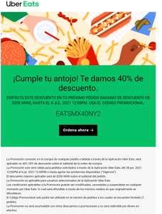Descuento de Uber Eats 40%