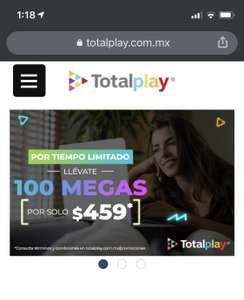 Totalplay: Internet con 100 Megas de velocidad por $459