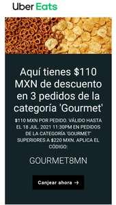 Descuento $110 en Uber eats Gourmet