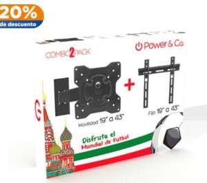 Chedraui Combo cuates Soporte para TV Power and Co. Fijo y Brazo de 26 a 43 pulgadas