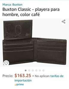 Amazon: Cartera de piel color café marca Buxton
