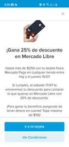 MERCADOPAGO: Gasta $250 con tarjeta MP, consigue Max $150 para gastar en ML (usuarios seleccionados)