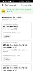 Uber Eats: $70 de descuento combinable con 2x1 (comida desde $10)