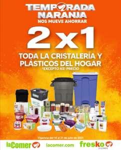 La Comer y Fresko: Temporada Naranja 2021: 2 x 1 en toda la cristalería y plásticos del hogar