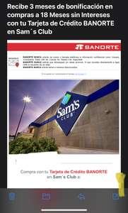 Sam's Club: Bonificación de 3 meses al pagar a 18 MSI con Banorte