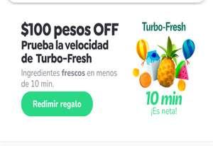 Rappi: Descuento de 100 pesos en turbo y envio gratis comprando $1