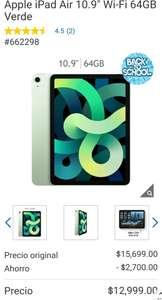 "Costco: Apple iPad Air 4, 10.9"" Wi-Fi 64GB Verde, con HSBC"