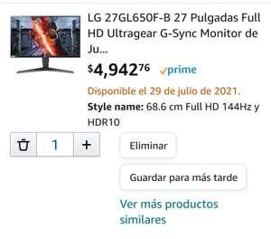"""Amazon - Monitor LG 27"""" IPS, Full HD 144 Hz con G-Sync"""