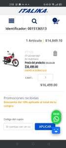 Italika Ft-125 roja, cupón italika + bonificación en puntos Bancomer