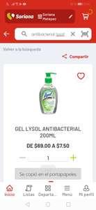 Soriana App: gel antibacterial lysol 200 ml. $7.50!!!