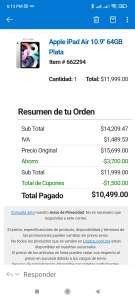 """Costco: Apple iPad Air 10.9"""" 64GB Plata"""