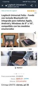 """Amazon: Logitech Universal Folio - Funda con teclado Bluetooth 3.0 integrado para tabletas Apple, Android y Windows de 9"""" a 10"""""""
