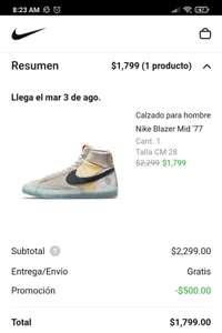 Nike app: 500 de descuento primer compra de 2000