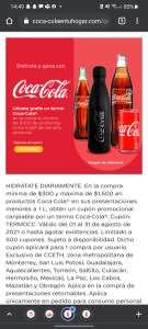 Coca Cola: Termo Gratis Con 300 pesos de compra y algún artículo de coca cola incluido