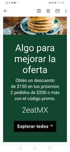 Cupón UBER EATS $ 150