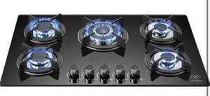 Amazon: AVERA VT5 Parrilla a gas de Empotrar con 5 Quemadores en Vidrio Templado, color Negro. Estufa para cocina.
