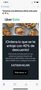 Uber Eats: 40% en 2 pedidos Maximo $200 de descuento sin monto minimo