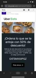 Uber Eats: 50% OFF en 2 pedidos (Usuarios seleccionados)
