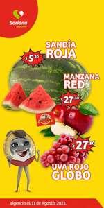 Soriana Mercado y Express: Frescura de Mercado 10 y 11 Agosto: Sandía $5.80 kg... Manzana Red ó Uva Globo $27.80 kg.