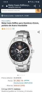 Amazon: Reloj Casio Edifice para Hombres 45mm, pulsera de Acero Inoxidable
