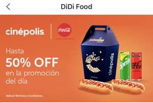 didi food, Palomitas Cinépolis a mitad de precio