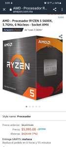 Amazon: AMD - Procesador RYZEN 5 5600X, 3.7GHz, 6 Núcleos - Socket AM4