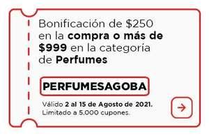 Bodega Aurrerá: Bonificación de $250.00 en la compra de $999.00 o más en la categoría de Perfumes